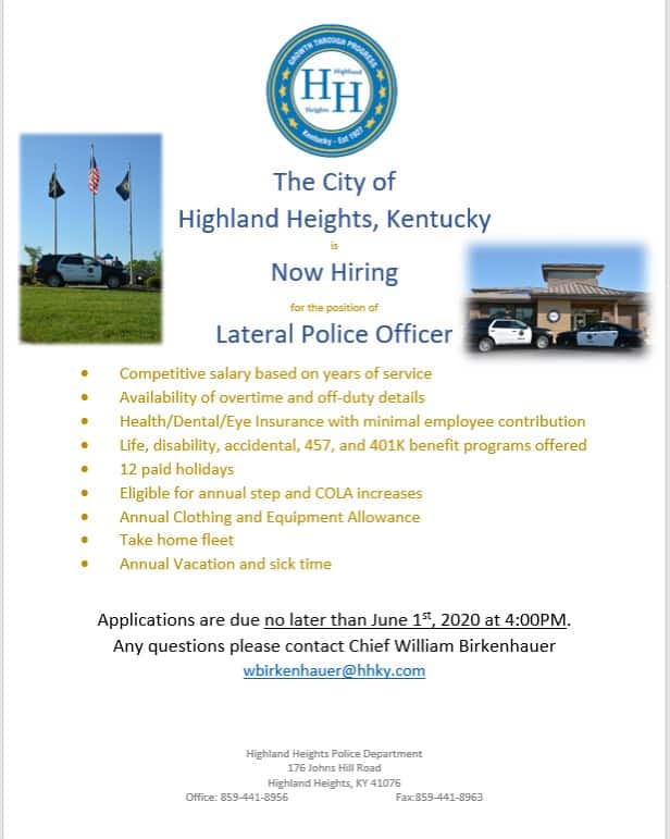 Highland Heights Ky 2020 Halloween Hours The City of Highland Heights, Kentucky is Now Hiring for the